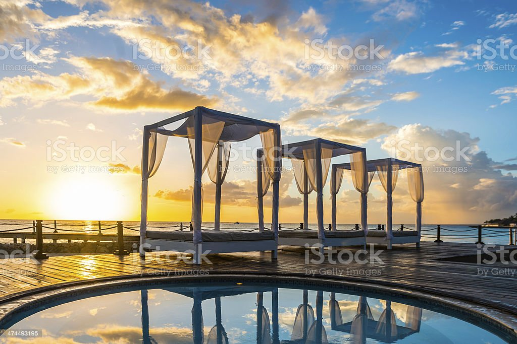 beautiful sunset and baldachins at Caribbean sea royalty-free stock photo
