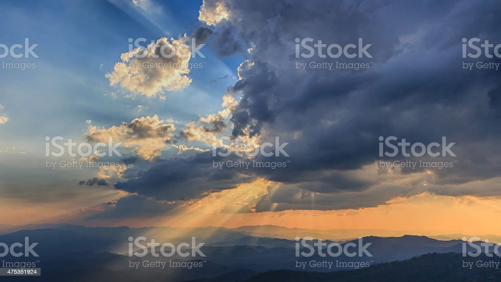 Beautiful Sunset and light beam royalty-free stock photo