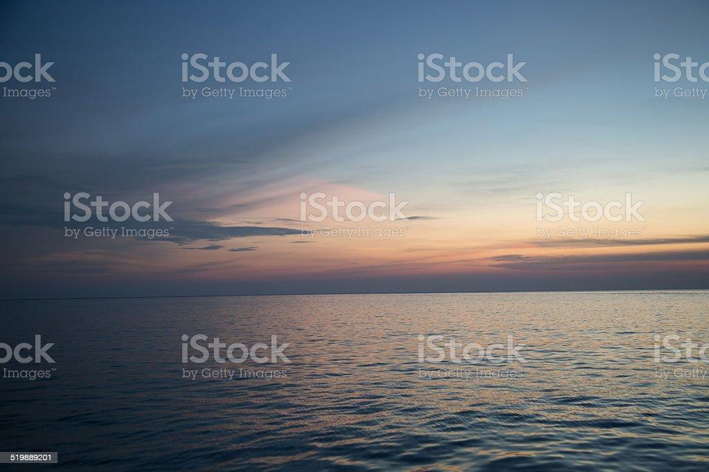 Beautiful sunset and ocean. stock photo