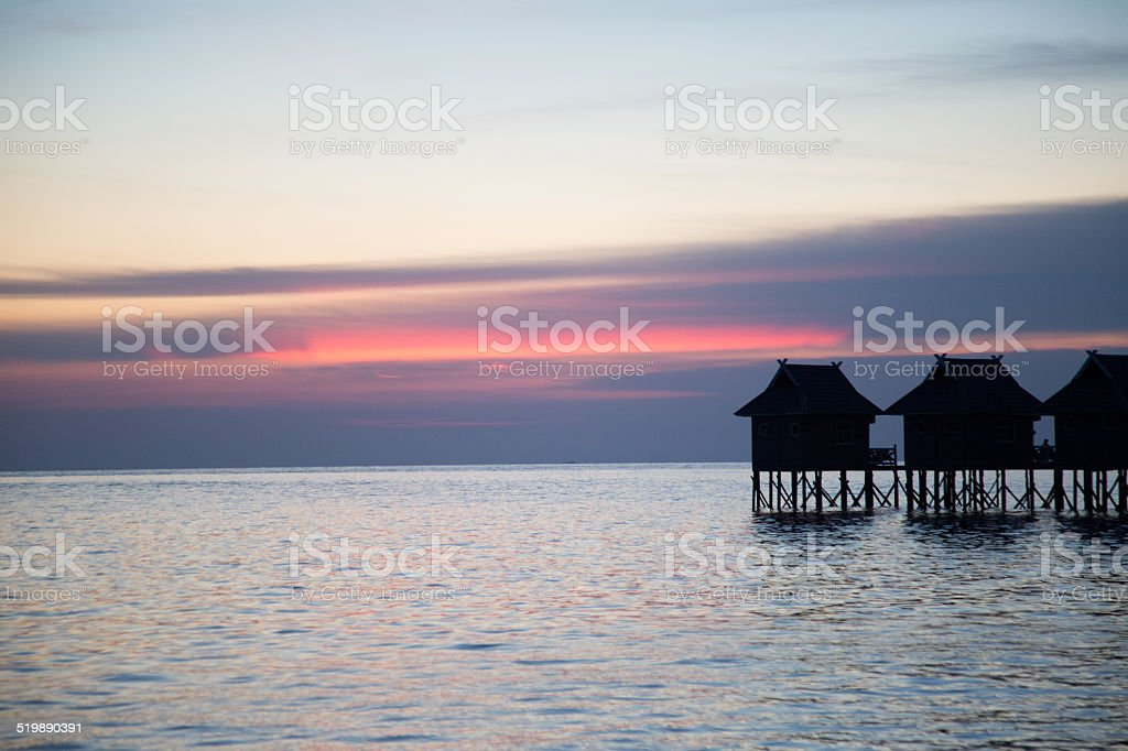 Beautiful sunset and ocean view. stock photo