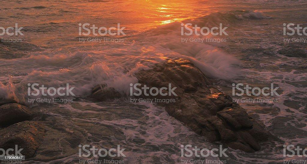 Beautiful sunset and sea waves royalty-free stock photo