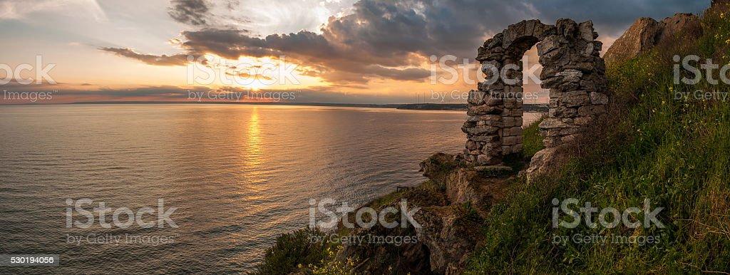 Beautiful sunset at cape Kaliakra stock photo