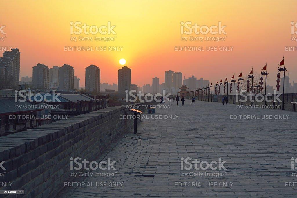 Beautiful sunset at City wall in Xian, China stock photo