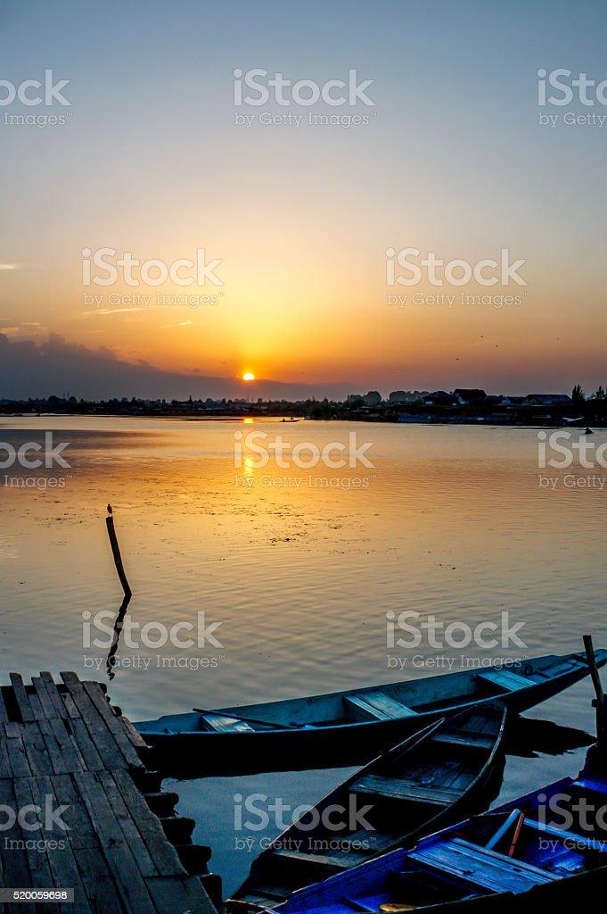 Beautiful sunset at Dal Lake, Srinagar, Jammu & Kashmir, India stock photo