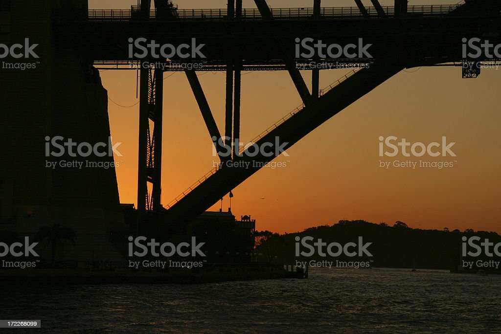 Beautiful sunset at Harbour bridge royalty-free stock photo