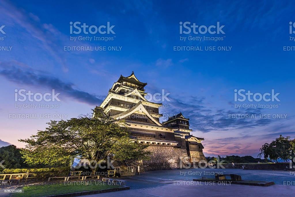 Beautiful sunset at Kumamoto Castle in Kumamoto, Kyushu, Japan. stock photo