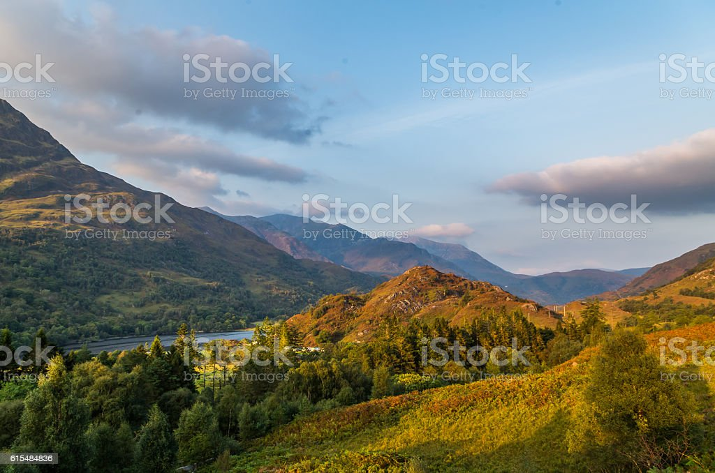 Beautiful sunset at Loch leven in Scotland, Great Brittain stock photo
