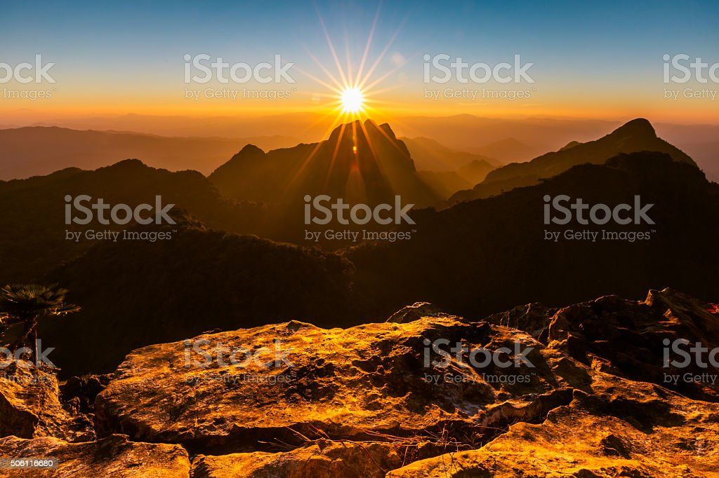 Beautiful sunset at mountain(Doi Luang Chiangdao,Chiangmai,Thailand) stock photo