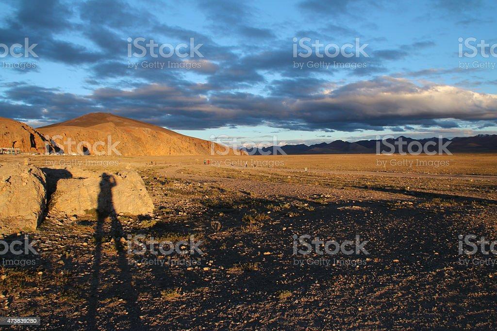 Beautiful sunset at Namtso lake, Tibet stock photo