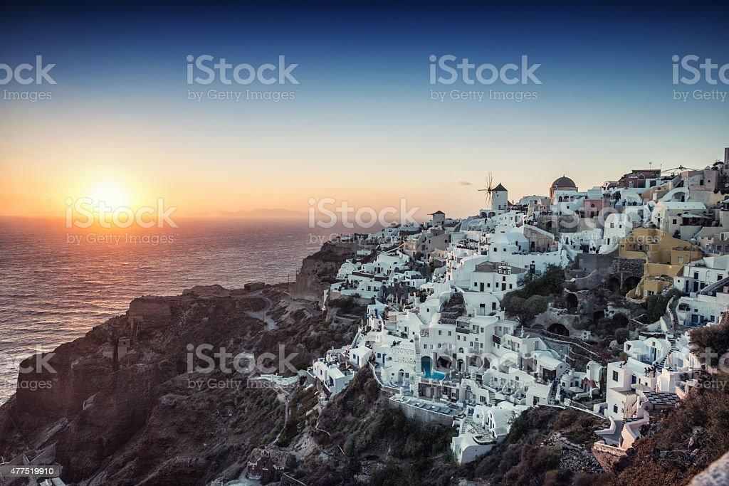 Beautiful Sunset at Oia, Santorini, Greece stock photo