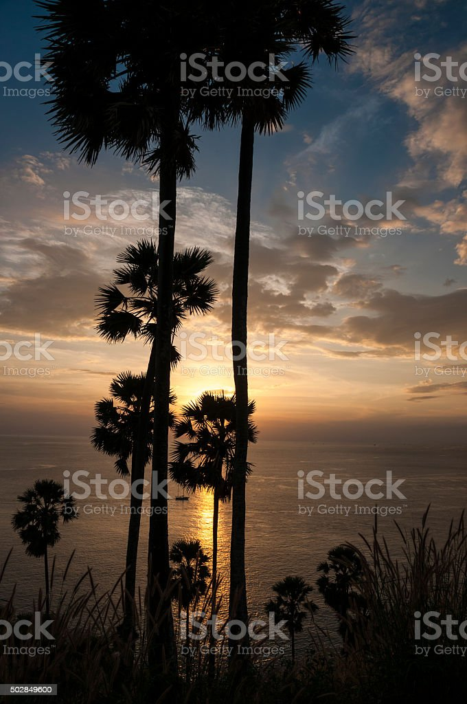 Beautiful Sunset At Phrom Thep Cape In Phuket, Thailand stock photo