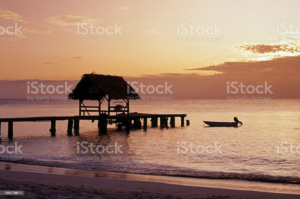 Beautiful sunset at Pigeon Point, Tobago stock photo