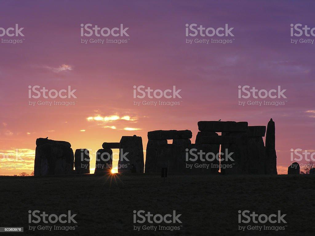 Beautiful sunset at Stonehenge stock photo