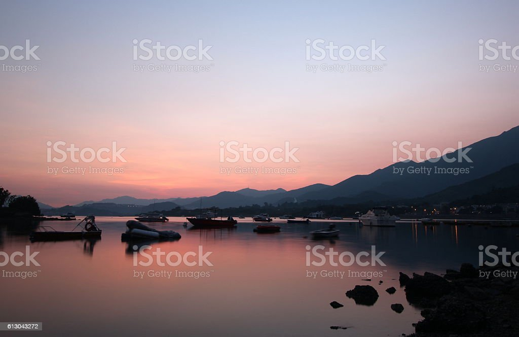 Beautiful sunset at Tai Mei Tuk, Tai Po, Hong Kong stock photo