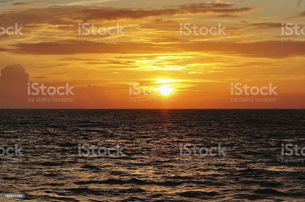beautiful sunset at the beach , thailand stock photo