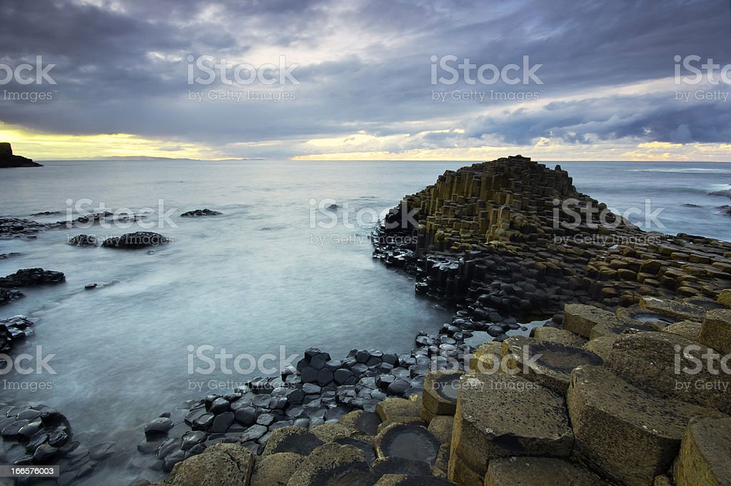 Beautiful sunset at the famous Giant's Causeway royalty-free stock photo