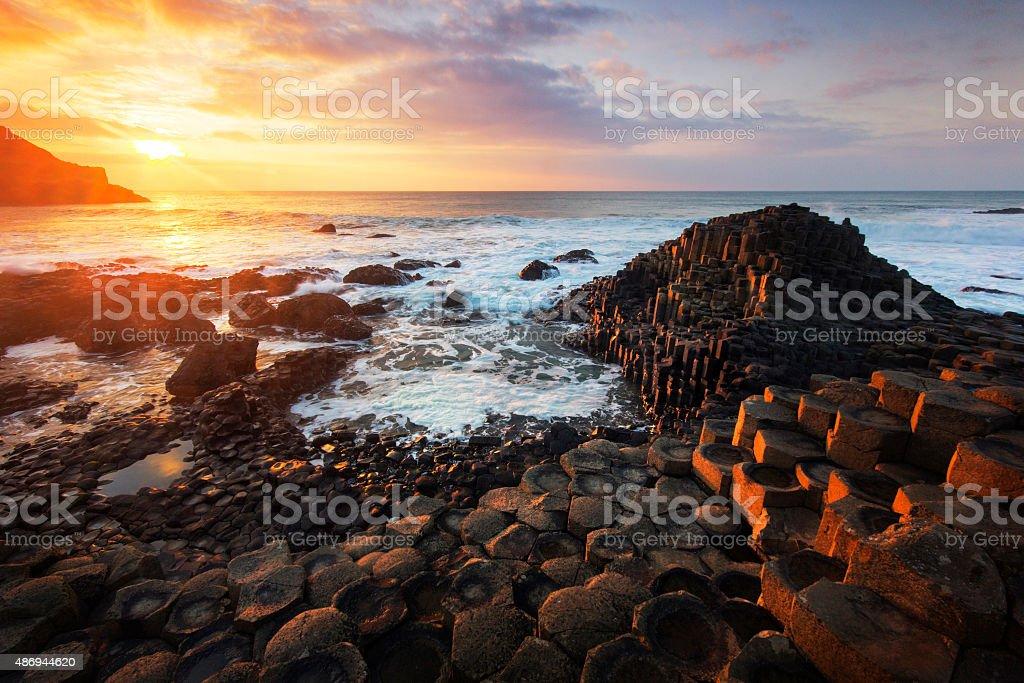 Beautiful sunset at the Giant's Causeway stock photo