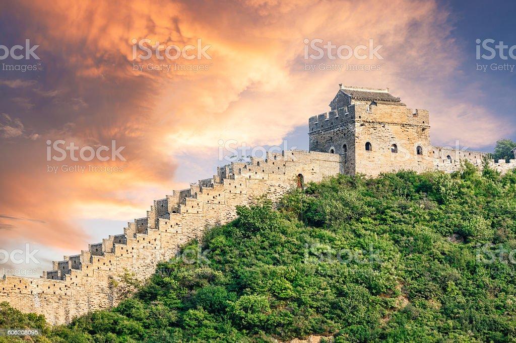 Beautiful sunset at the Great Wall of China stock photo