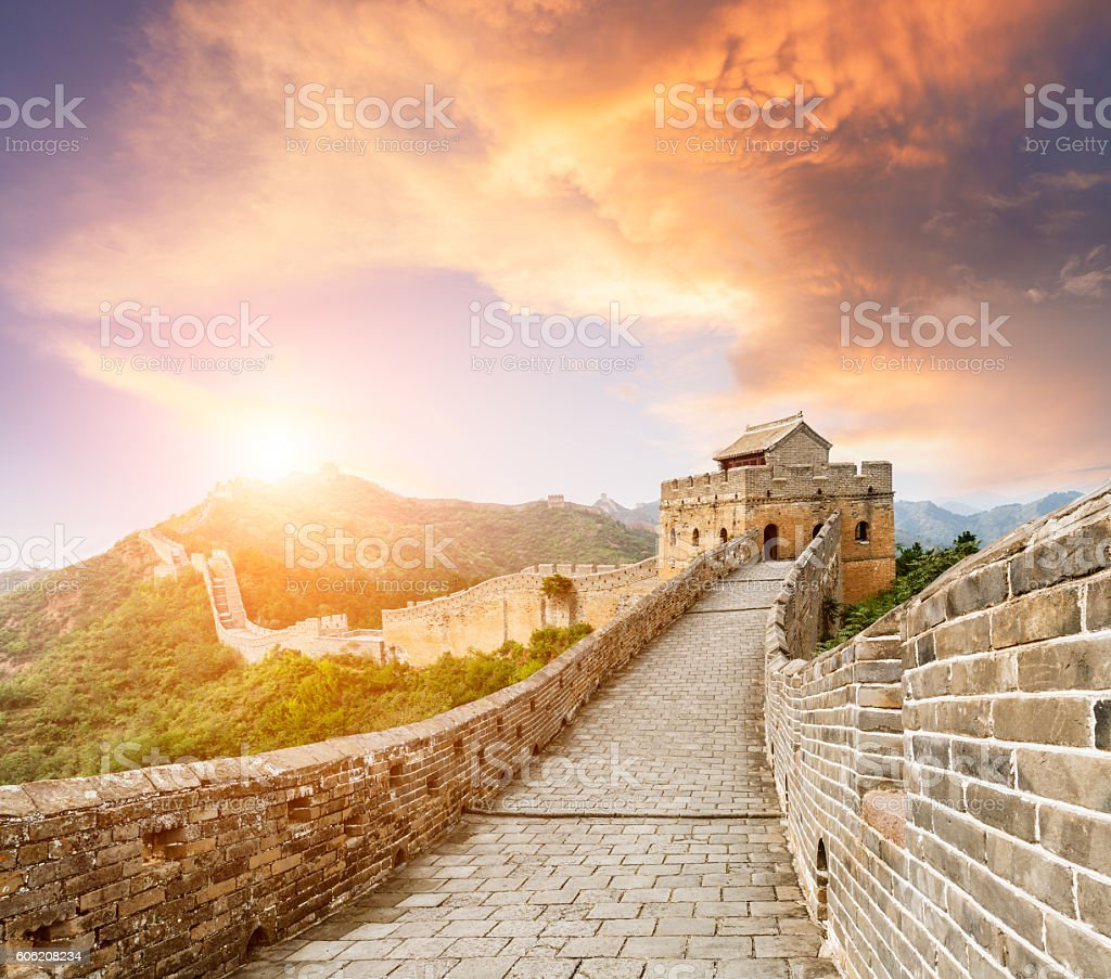 Beautiful sunset at the Great Wall of China stock photo