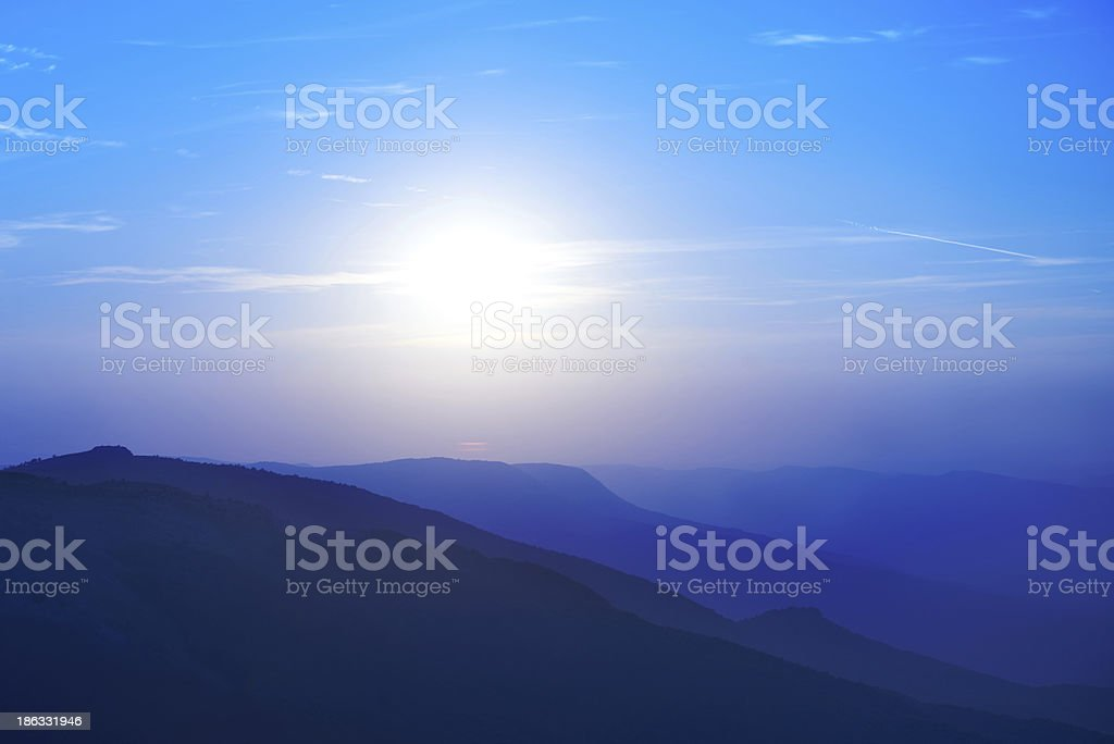 Beautiful sunset at the mountains royalty-free stock photo