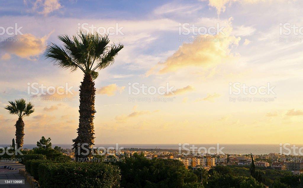 Beautiful sunset at the Paphos coastline, Cyprus. royalty-free stock photo