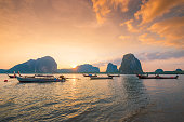 Beautiful sunset at tropical beach in asia thailand