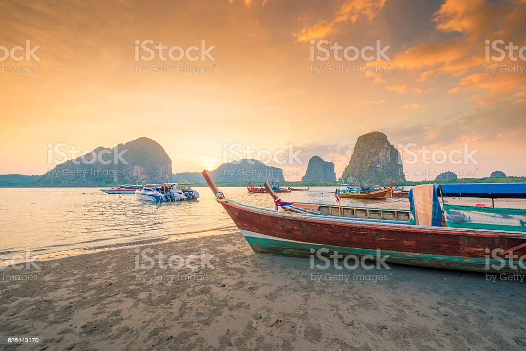 Beautiful sunset at tropical beach in asia thailand stock photo