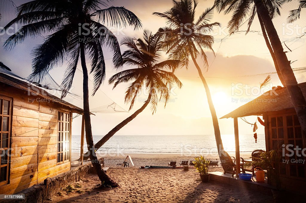Beautiful Sunset at tropical beach stock photo