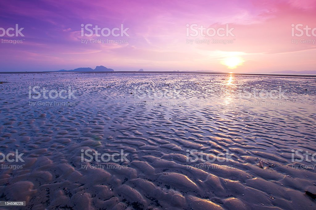 beautiful sunset at tropical sea stock photo