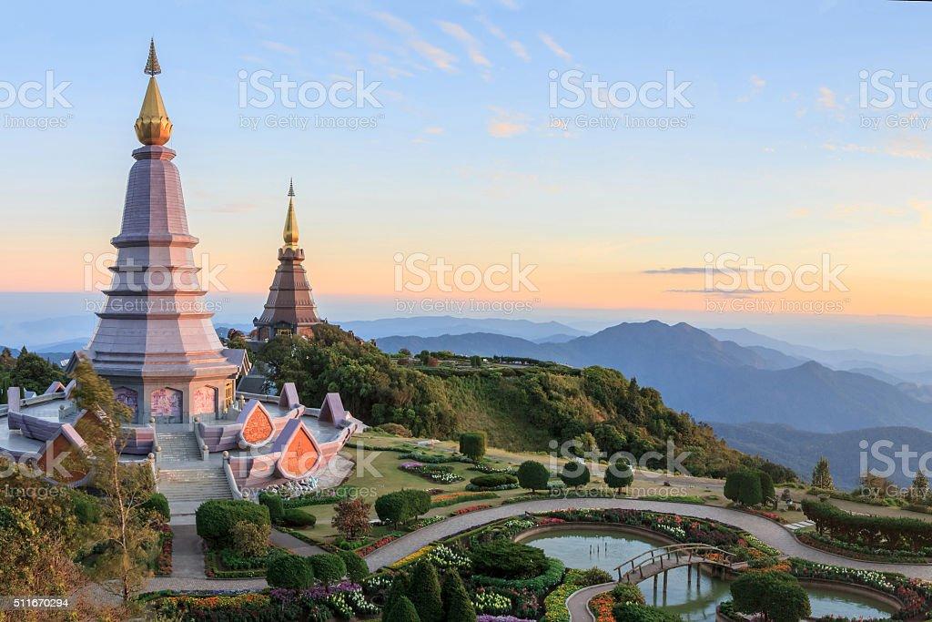 Beautiful sunset at two pagoda Doi Inthanon National Park stock photo