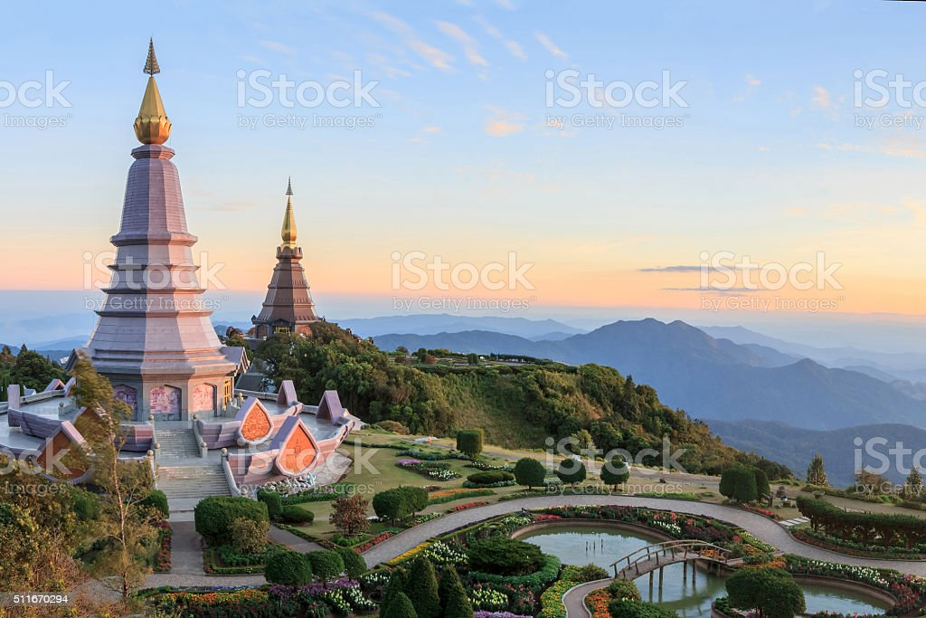 Beautiful sunset at two pagoda Doi Inthanon National Park stock photo