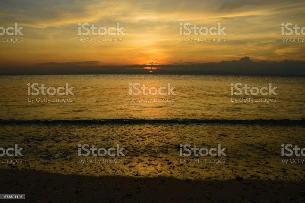 Beautiful sunset Bharatpur beach at Andaman islands stock photo