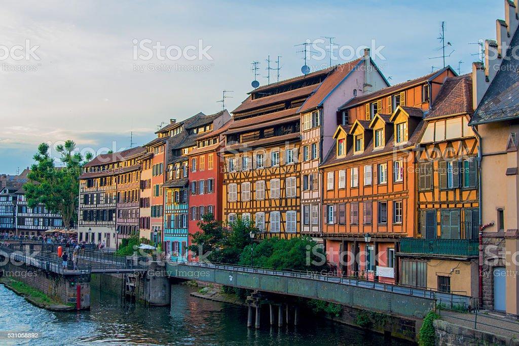 Beautiful sunset cityscape in Strasbourg stock photo