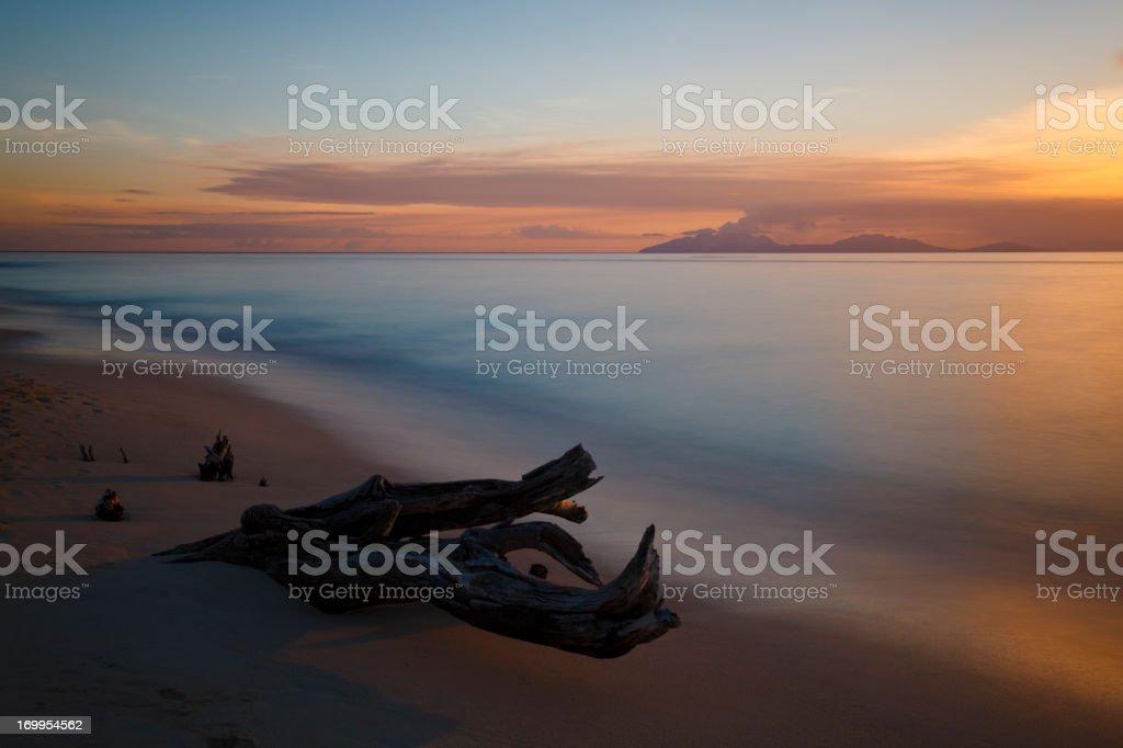 Beautiful Sunset Close To Montserrat stock photo