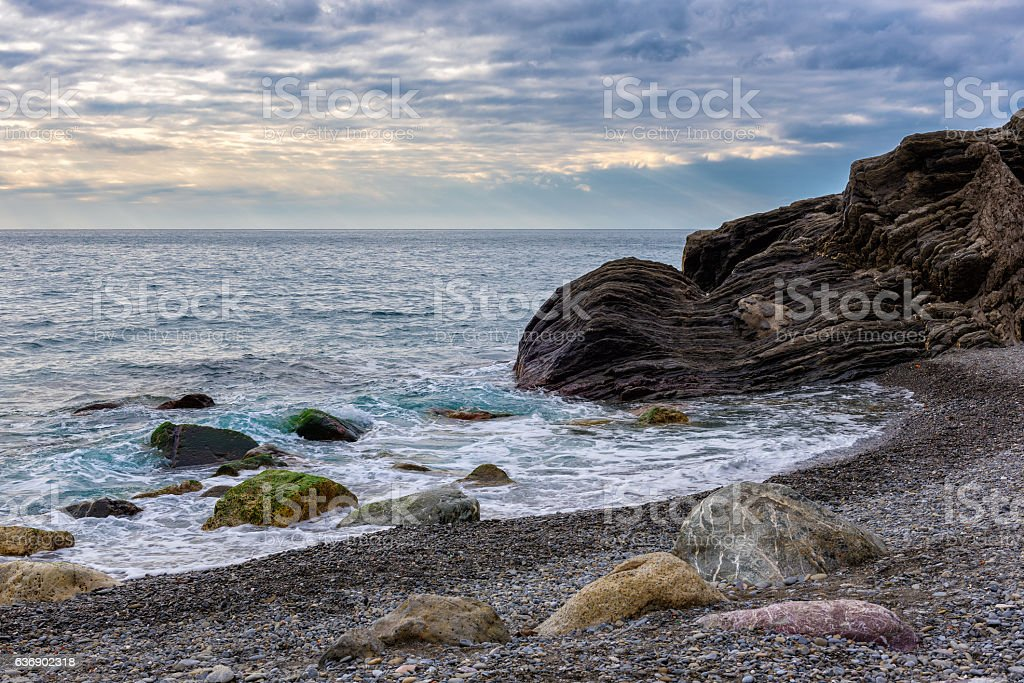Beautiful sunset coastline of Mediterranean sea stock photo