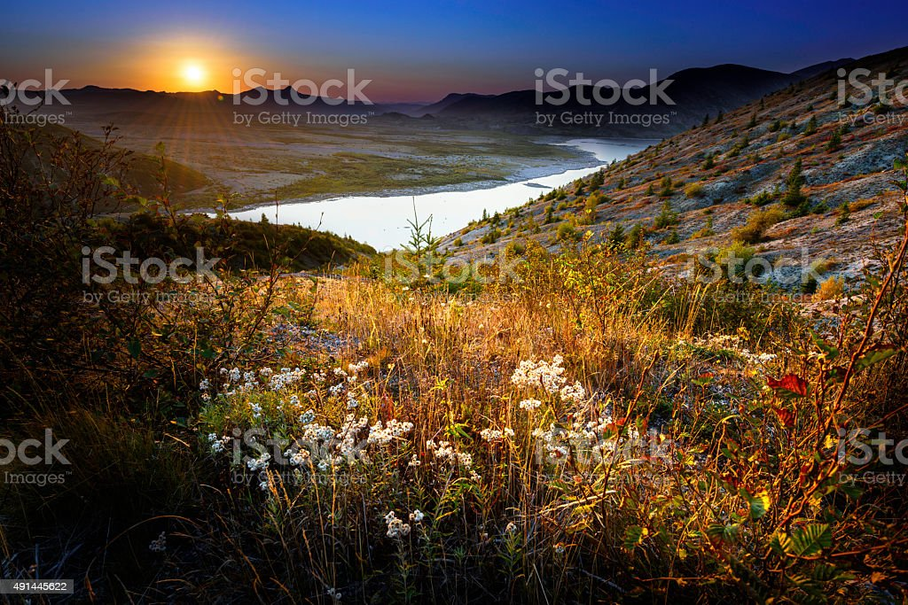 Beautiful Sunset from Mountain top stock photo