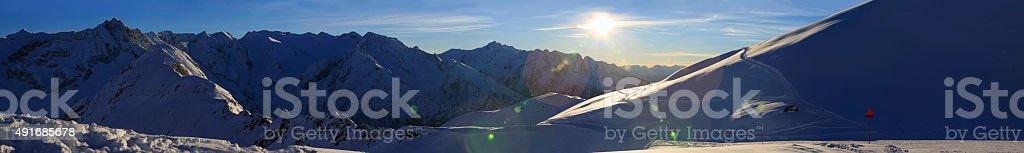 Beautiful sunset High mountain snowy  landscape  Sunset Panorama Europe Alps stock photo