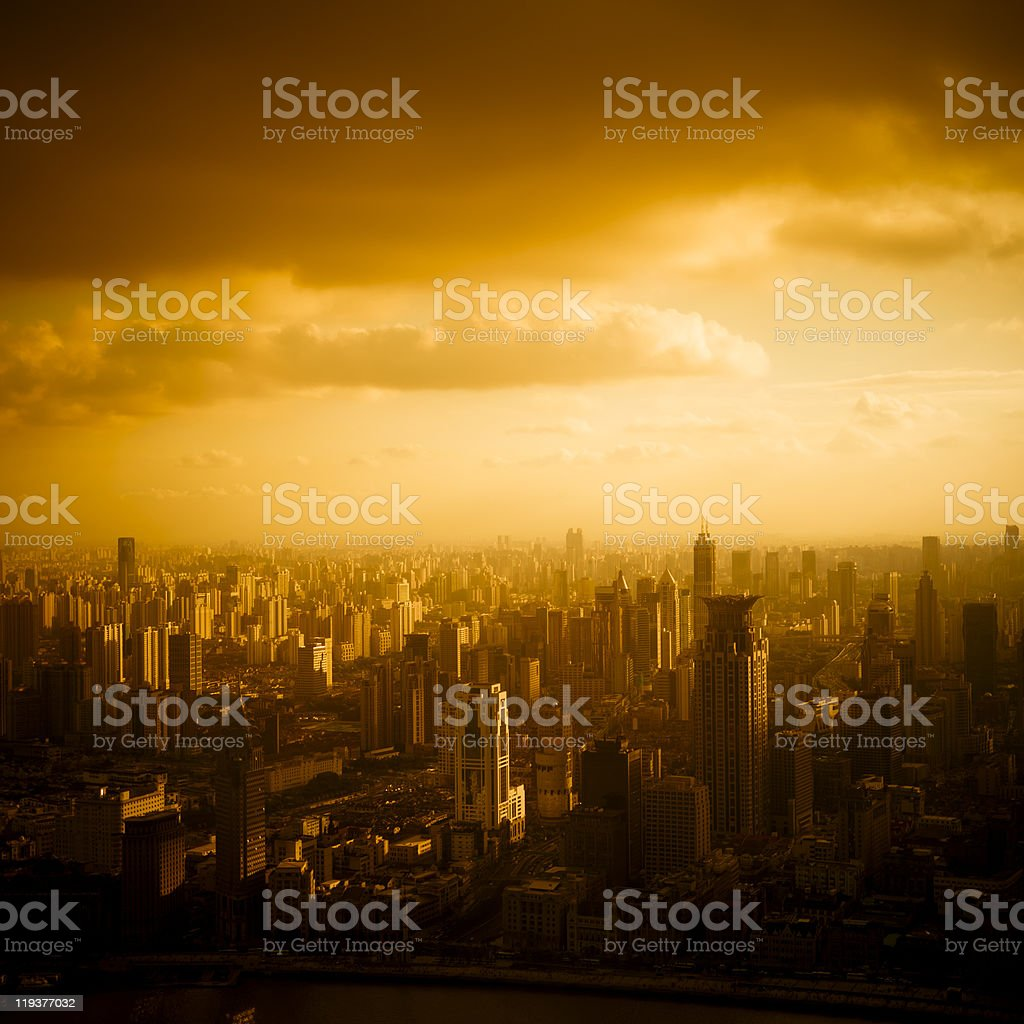 Beautiful sunset image from above stock photo