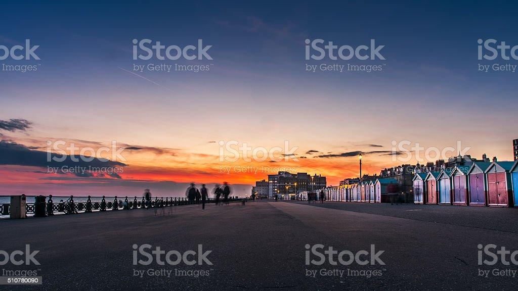 Beautiful sunset in Brighton, UK stock photo