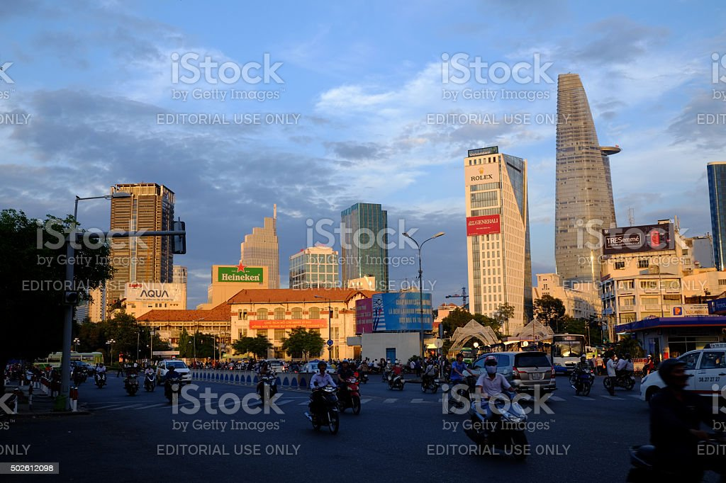 Beautiful sunset in center of city royalty-free stock photo