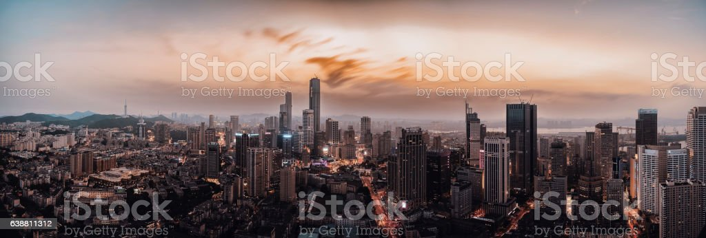 beautiful sunset in downtown city stock photo