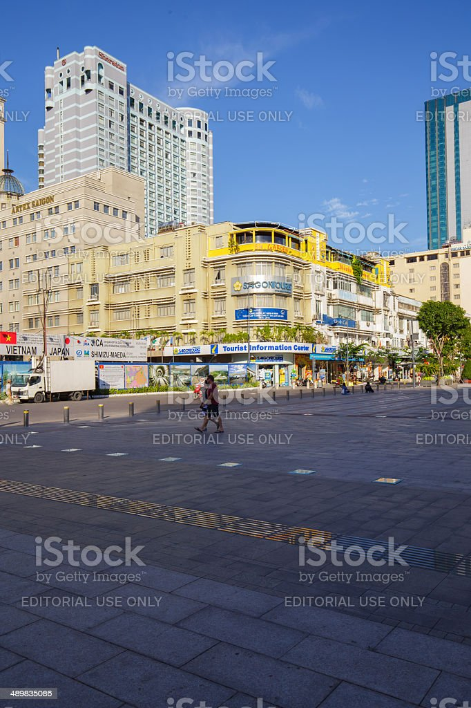 Beautiful sunset in Downtown in Nguyen Hue Pedestrian Street royalty-free stock photo