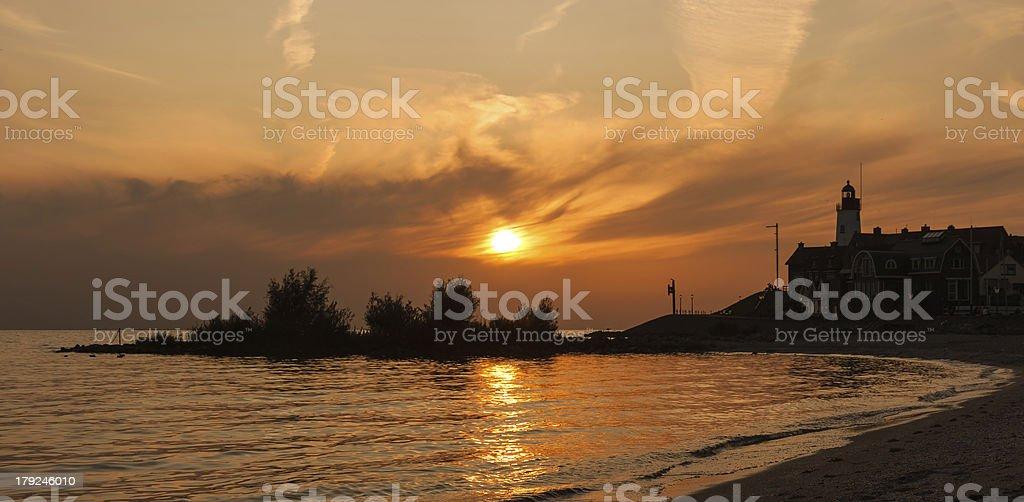 Beautiful sunset in fishing village Urk, the Netherlands royalty-free stock photo