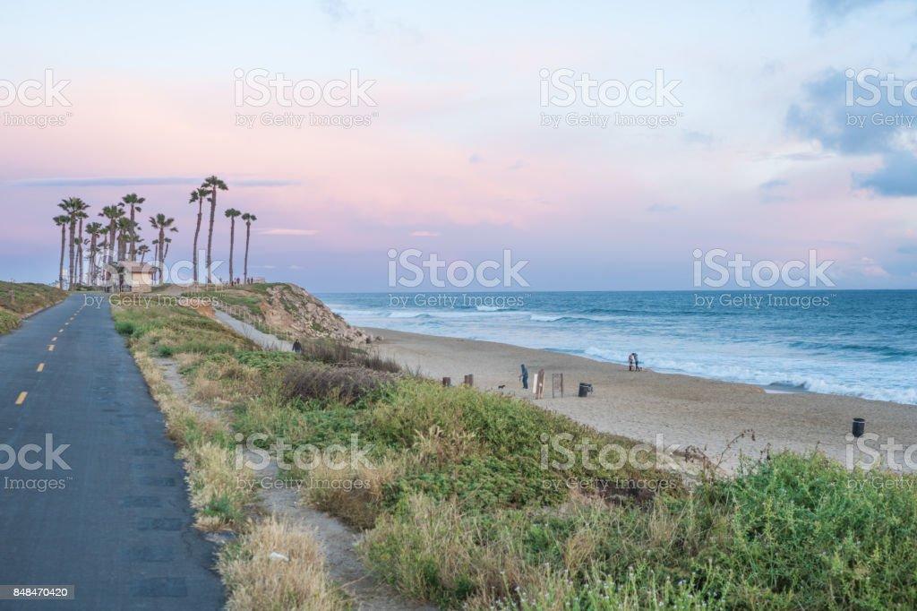 Beautiful Sunset in  Huntington Beach, California stock photo