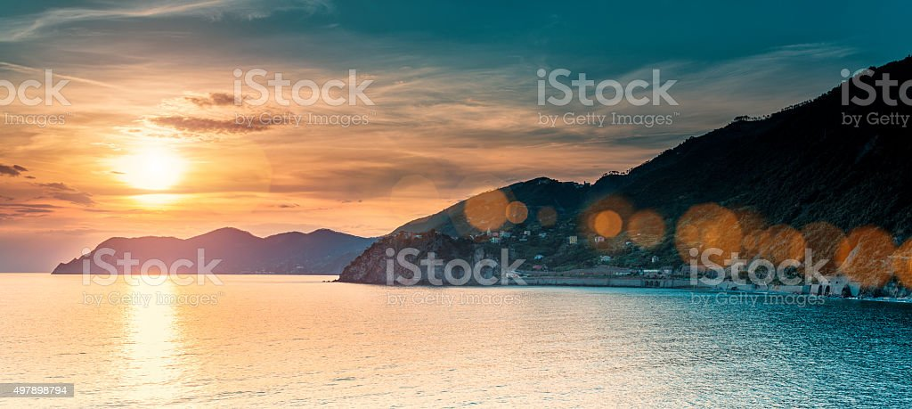 Beautiful sunset in Liguria, Italy stock photo