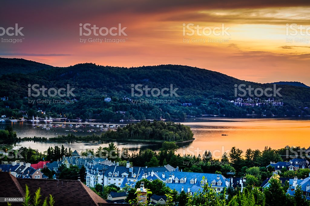Beautiful sunset in Mont tremblant village. stock photo