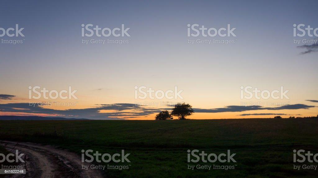 beautiful sunset in nature stock photo