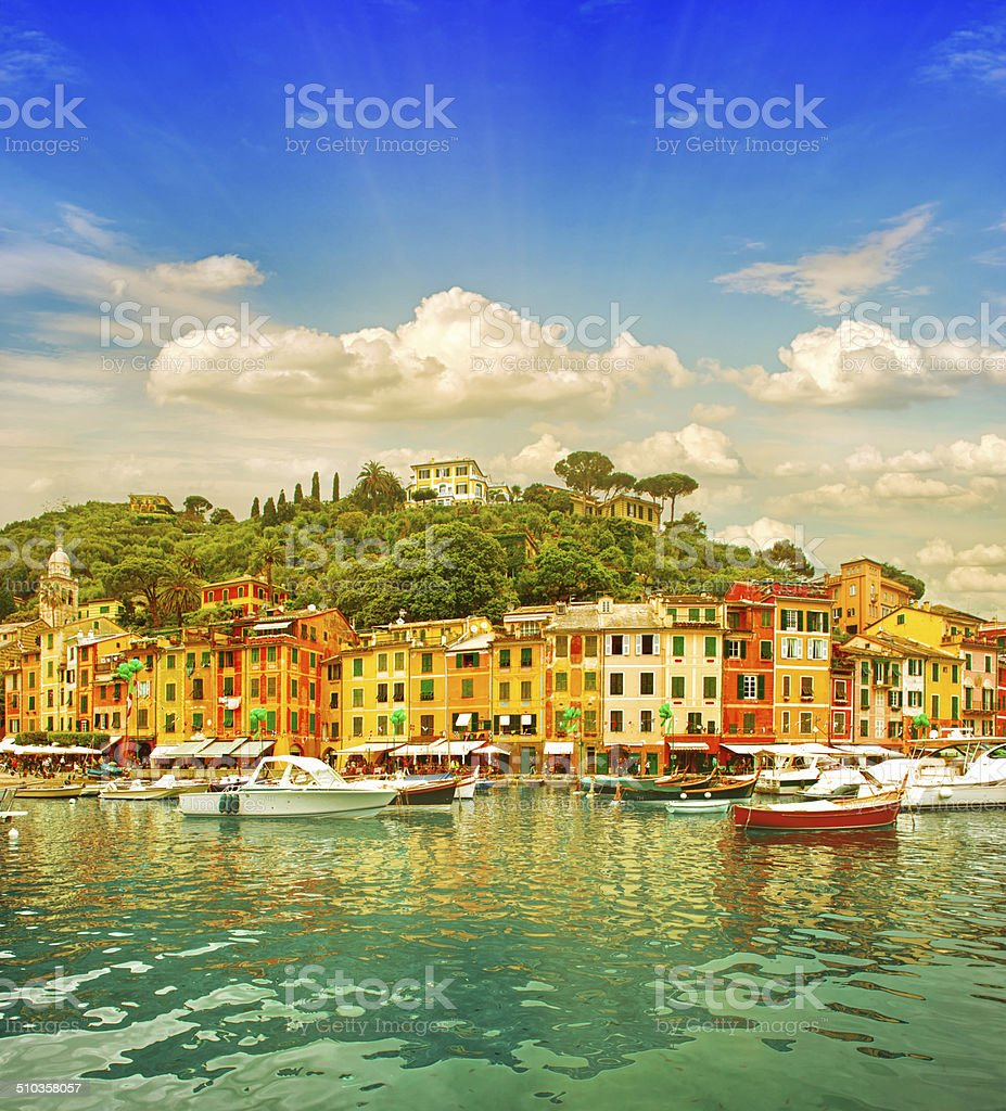 Beautiful sunset in Portofino village on Ligurian coast, Italy stock photo