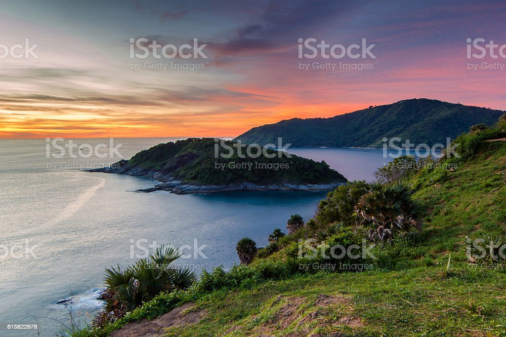 Beautiful sunset in promthep cape is a mountain stock photo