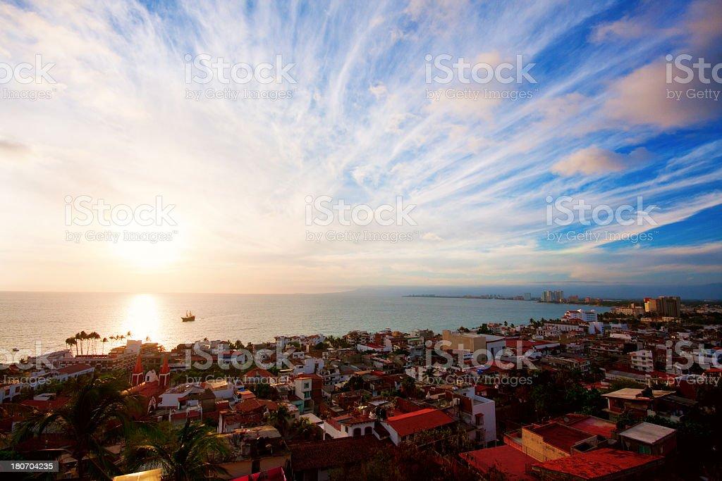 Beautiful sunset in Puerto Vallarta stock photo